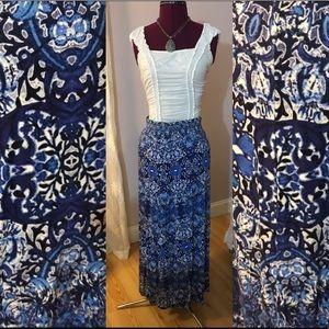 Fabulous blue and white maxi skirt